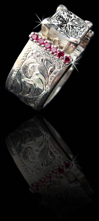 5130 Solid Sterling Silver Band Featuring A 2 Carat Princess Cut Cz Simulated Rubies And Hand Engraved Made In Usa Custom To Order