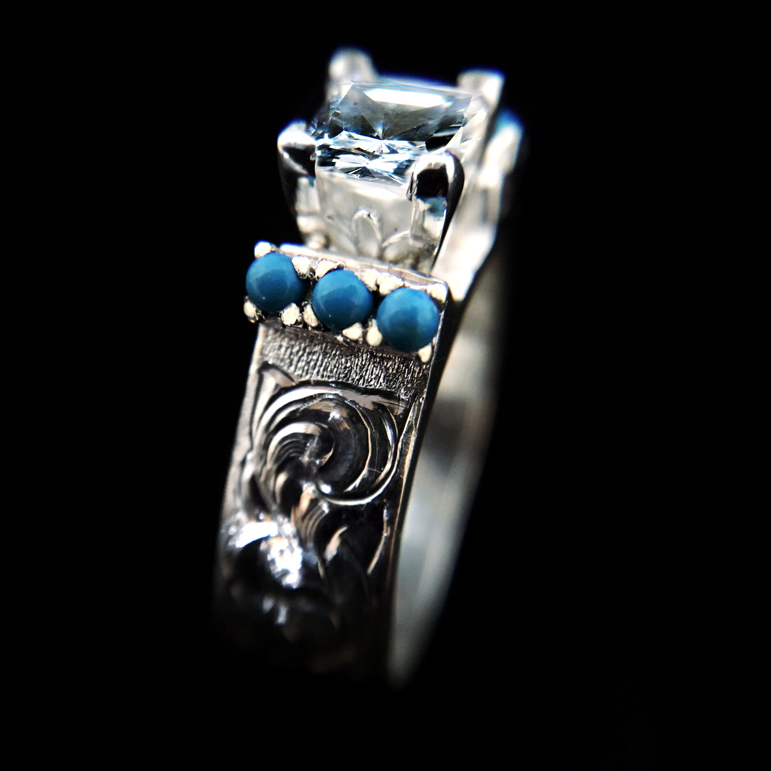 Silver Cubic Zirconia And Turquoise