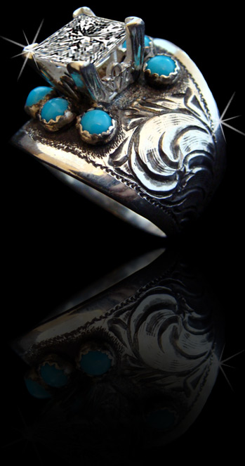 5310 Turquoise Solid Sterling Silver Featuring Genuine Stones Hand Engraved Made In Usa Custom To Order