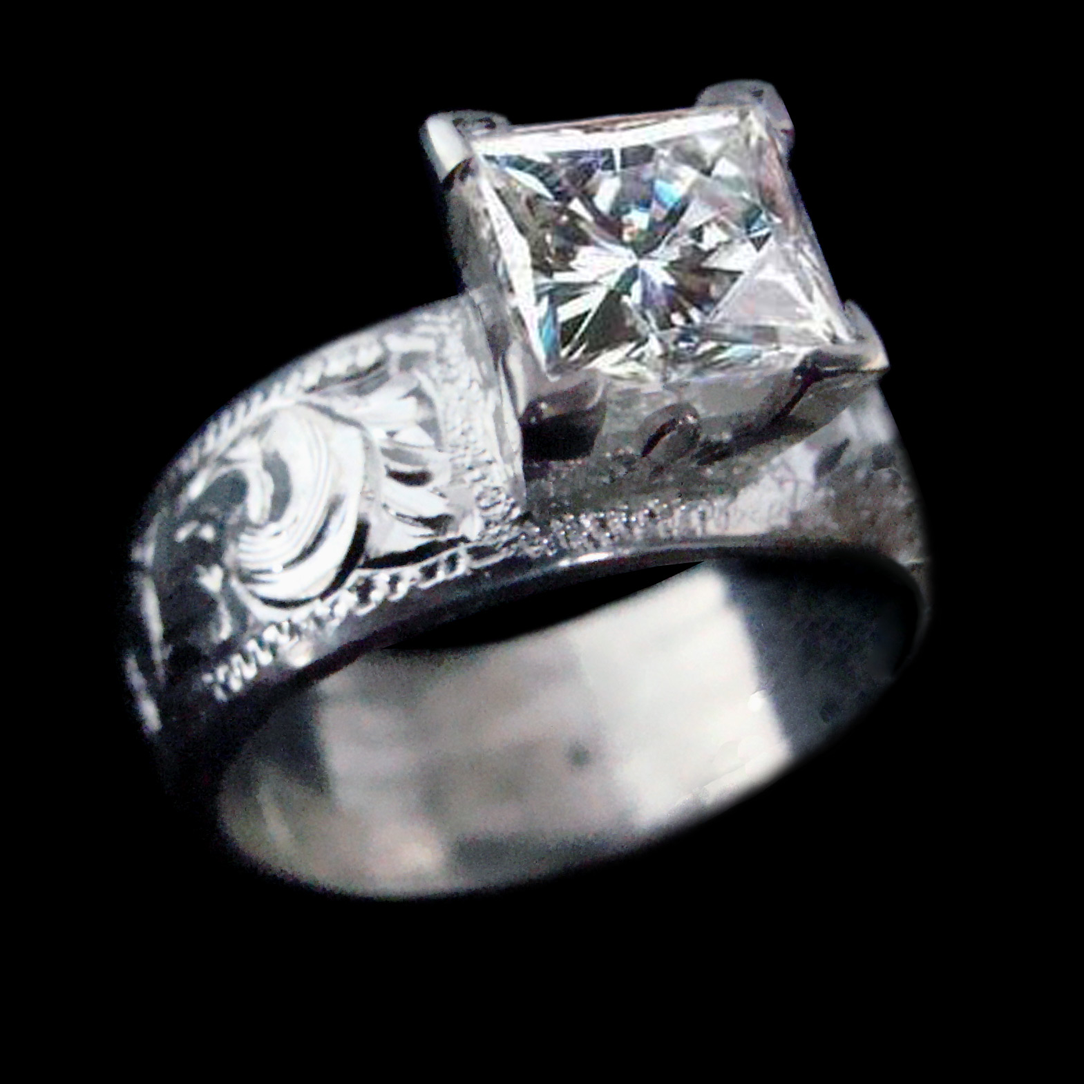 Our 8mm Wide Hand Engraved Band With 2ct Princess Stone: Custom Cowboy Wedding Rings At Reisefeber.org