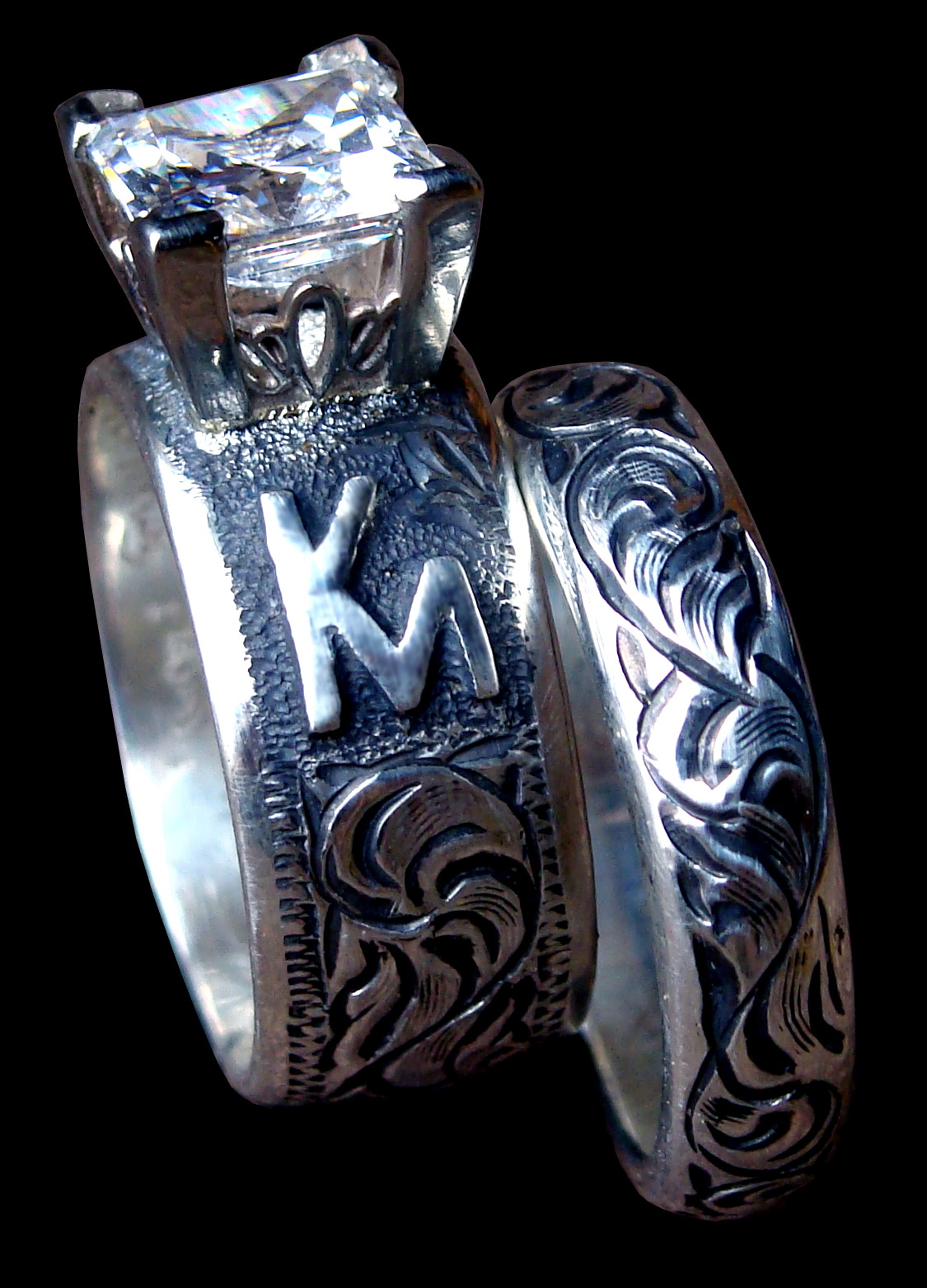 9900 Set Antique Solid Sterling Silver Band Featuring A 2 Carat Princess Cz Hand Engraved Made In Usa Custom To Order