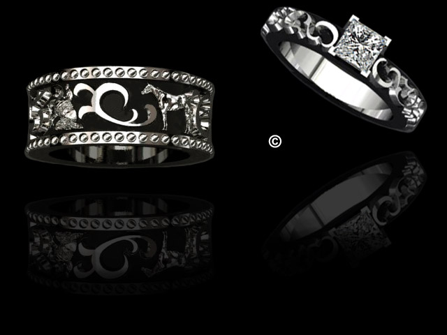 The Equestrian Wedding Set Featuring 4 Event Motifs Around Band